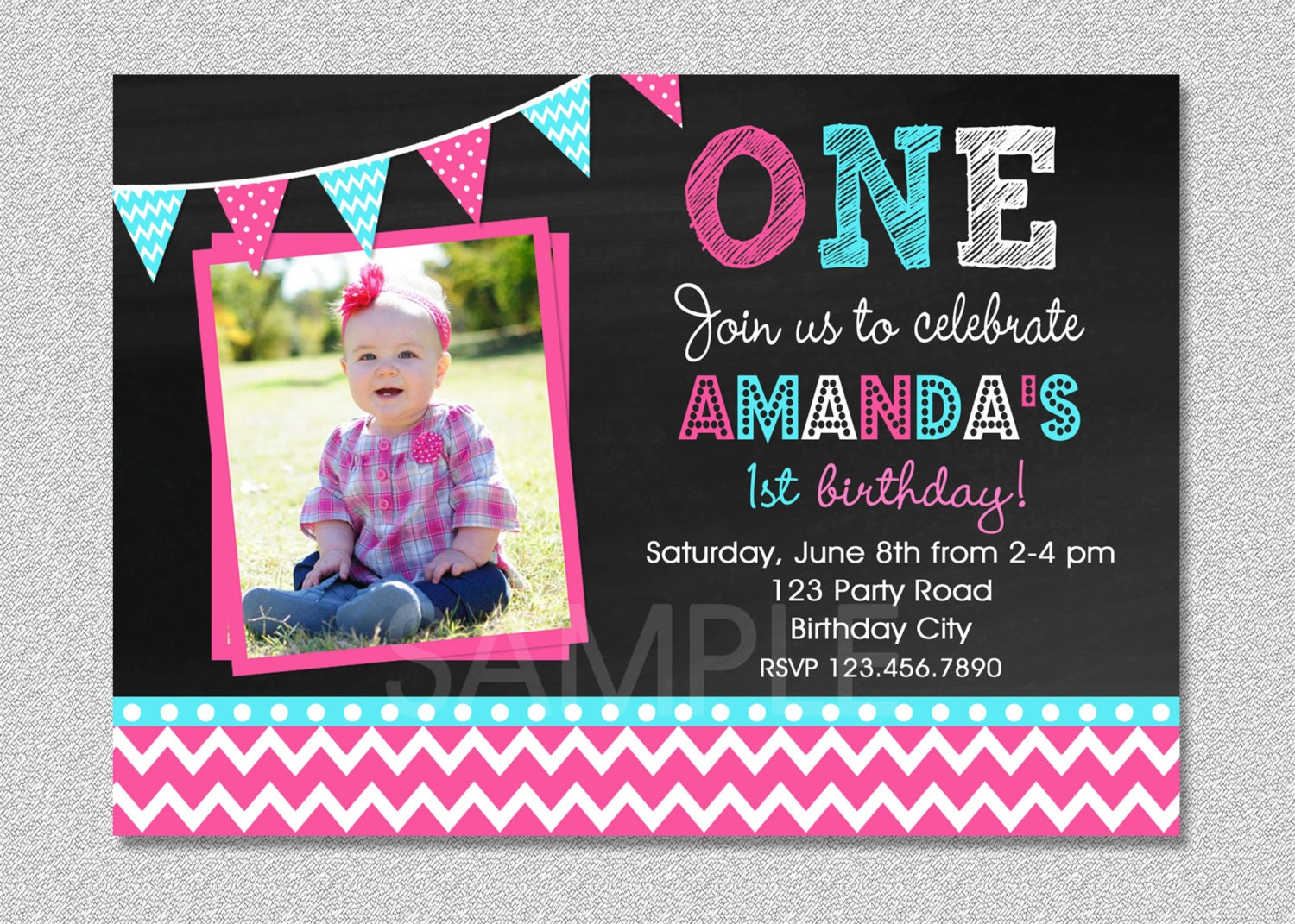 Girls 1st Birthday Invitation Chevron 1st Birthday Party – Pink 1st Birthday Invitations