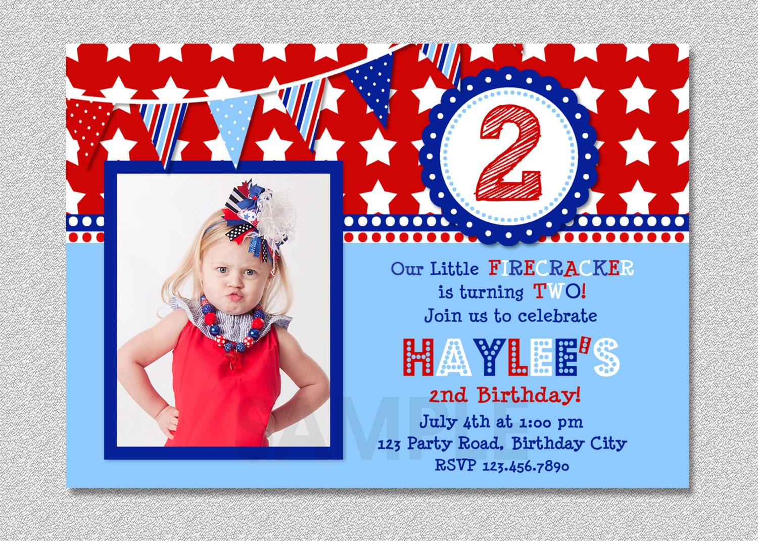 4th of July Birthday Invitation Red White and Blue Birthday – 4th Birthday Invitations