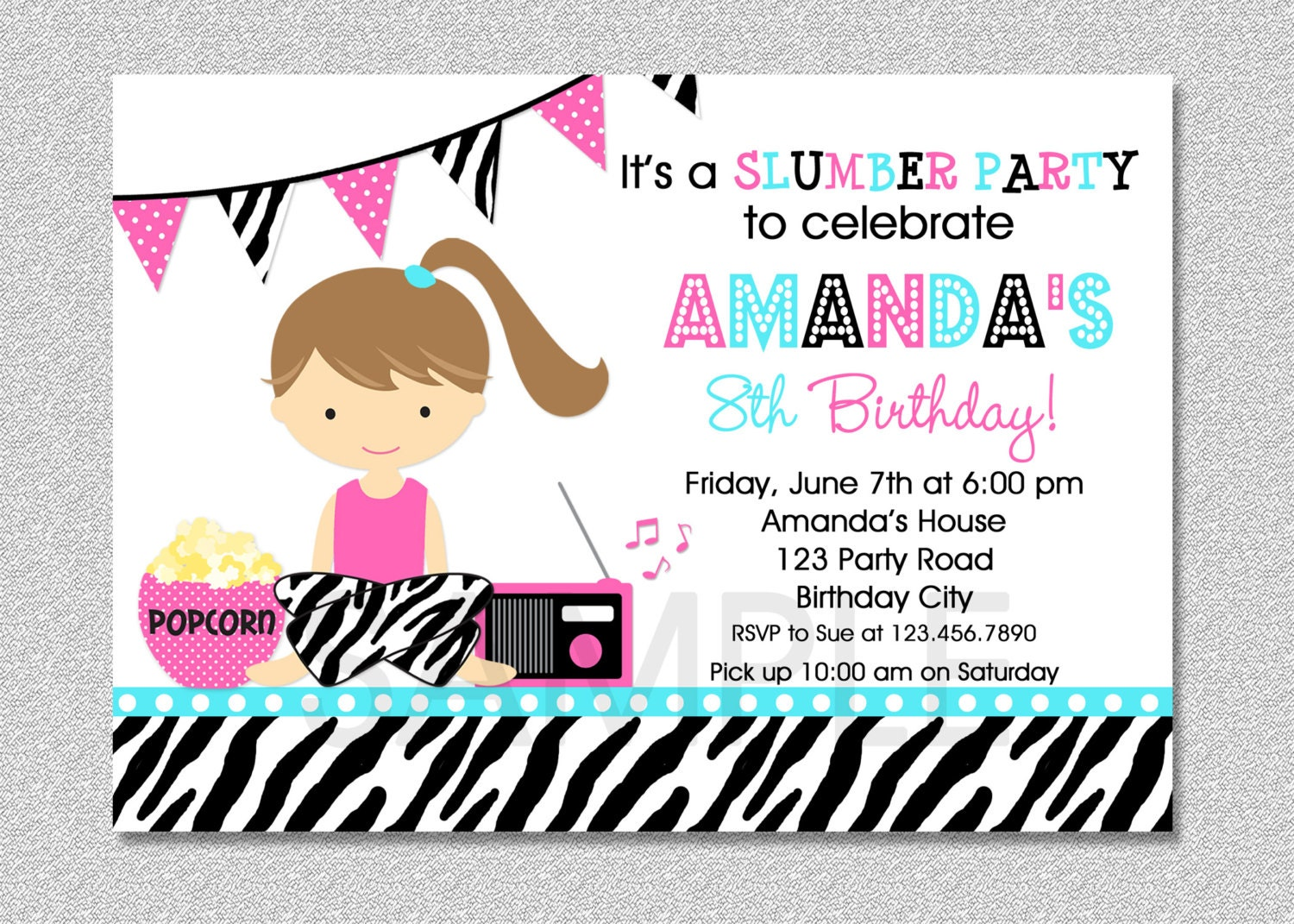 Sleepover Pajama Party Invitation Slumber Birthday