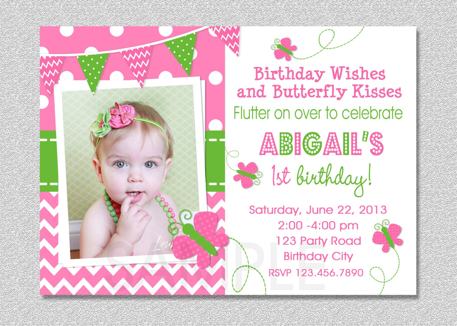 Butterfly Birthday Invitation Butterfly Invitation Girl – Butterfly Invitations Birthday