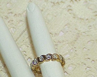 Sterling 3.00Ct CZ Eternity Band Ring Size 7 S Link 4.5mm Gold Vermeil Vintage