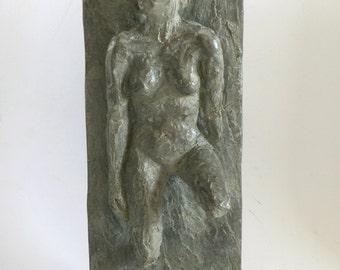 A portrait of Nadine, bronze relief, original sculpture