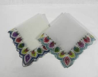 2 Nylon Handkerchiefs, Bright Floral Borders
