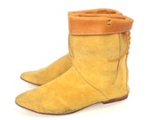 Pocahantas, French Vintage, 1970s Mustard Suede Leather, Ankle Boots from Paris