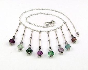 Stunning OOAK Fluorite & Sterling Silver Necklace - N465A
