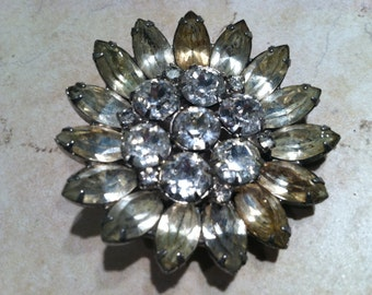 WEISS 1950s Large Floral brooch pin rhinestones Designer Vintage Jewelry Highly Collectible Whimsical Figural Flower Large Bold Grey Stones