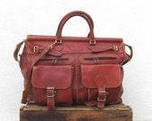Vintage Large Rugged Cognac Wine Distressed Leather Birkin Style Large Travel Duffle Bag