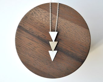Triangle Necklace Handmade of Bronze and Sterling Silver - Geometric Tribal Necklace