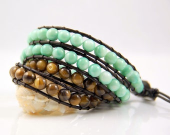Mint Green Brown Mother Of Pearl Bead Leather Wrap Bracelet