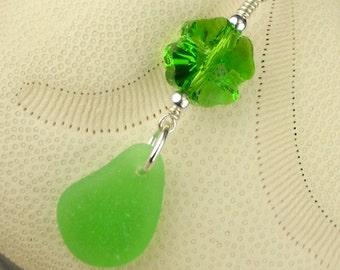 Swarovski Crystal Shamrock Necklace Kelly Green Sea Glass