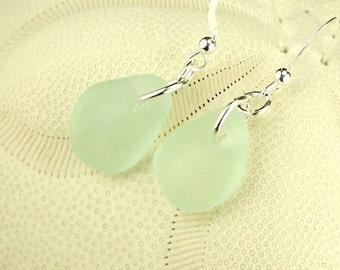 GENUINE Aqua Sea Glass Earrings, Sterling Silver Dangle earrings, Aqua Blue Seaglass Earrings, Beach Glass Earrings, Boho Earrings,Gift