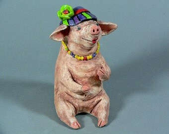 PIGTORIA'S SECRET - What is her secret??? Whimsical and Fun Ceramic Pig Sculpture