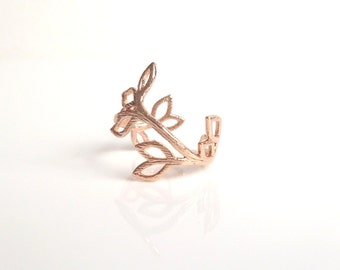 Rose Gold Vine Ring - little pinky style adjustable ring w/ simple winding leaf branch design in textured polish pink finish - size 4 5