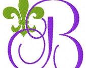 Fleur De Lis Machine Embroidery Monogram Font Design Set // Joyful Stitches