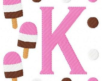 Ice Cream Monogram Machine Embroidery Design Font Set// Summer Embroidery Design // Popsicle Embroidery Design // Joyful Stitches