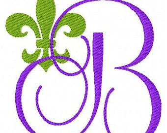 Fleur De Lis Embroidery Design Monogram Font Set, Machine Embroidery Designs, Embroidery Font, Monogram Designs // Joyful Stitches