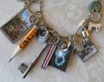 Southwest Soldered Charm Jewelry Charmed Vintage Necklace KNOWLEDGE IS POWER