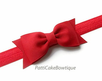 Baby Girls Red Bow Headband, Red Tuxedo Bow w/ Adjustable Shimmering Red Headband, Christmas Bow, Red Hair Bow Clip, Toddler Hair Bow, 78