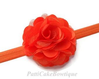 Orange Flower Headband/Orange Flower Hair Clip Headband Set/Infant Headbands/Halloween Baby Headband/Baby Girl Headband/Girls Headbands