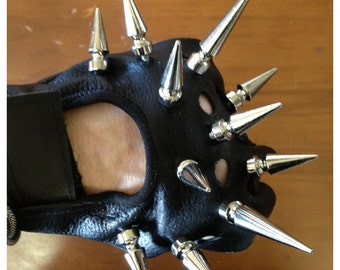Black Gloves Spiked Moto Gloves Fingerless Lady Gaga CHRISST