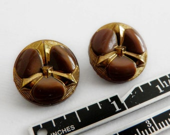 Modern Brown Glass Buttons Gold Luster