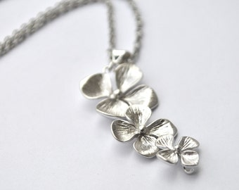 Orchid Silver Flower Necklace Cascading of flowers, perfect for Bridesmaid gifts set of 1 2 3 4 5 6 7 8 9 10 11 12