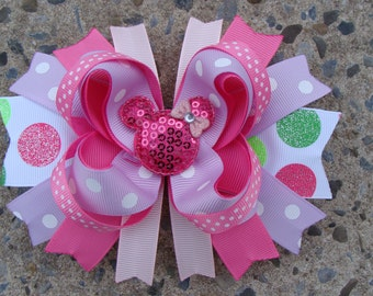 Minnie Mouse Hair Bow-Large Hair bow - Pink and Purple Minnie Mouse Hair Bow