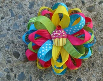 Cup Cake Rainbow Hair Bow Loopy Flower Hair Bow