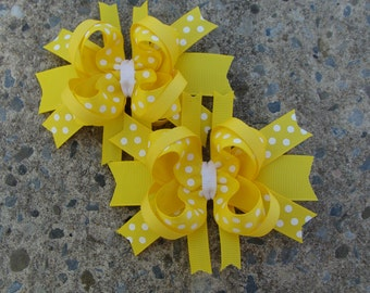 Yellow Boutique Hair Bows - Mini Boutique Hair Bow Set - Pigtail Hair Bow Set of 2