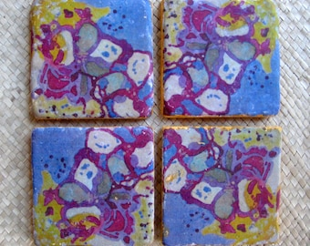 GIFT Tile coasters hand made set of 4 with original artwork-purple magenta ochre