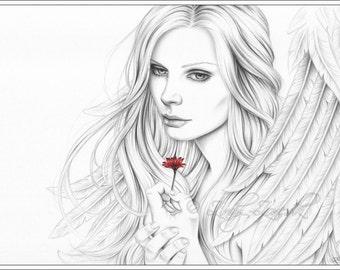 Love Me Angel Red Flower Portrait Art Print Glossy Emo Girl Fantasy Zindy Nielsen