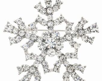 Chrome Christmas Snowflake Brooch 1001603