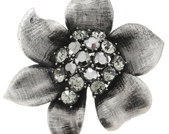 Antique Style Grey Flower Pin Brooch 1001145