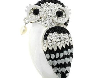 Black & White Crystal Owl Brooch/Pendant 1001982