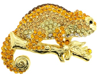 Golden Crystal Chameleon Brooch/Pendant 1001191