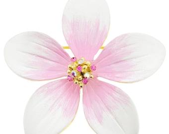 White Hawaiian Plumeria Pin Swarovski Crystal Flower Pin and Pendant 1003174