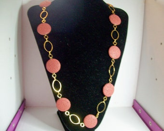 Brown lava rock large coin necklace