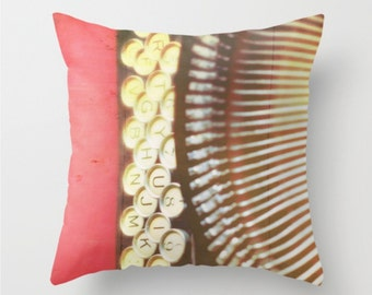 typewriter pillow, typewriter pillow case, decorative throw pillow cover, red cover, black decor, keys, office decor, writers gift, school