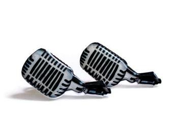 Old School Microphone Earrings, Tattoo Inspired Mic Earrings