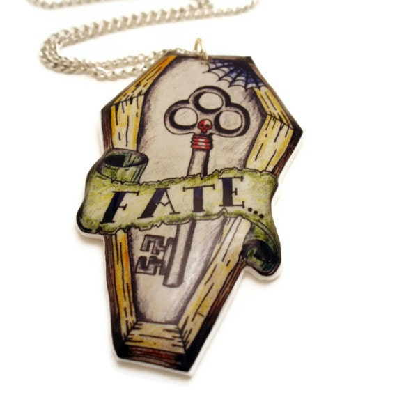 Rockabilly Necklace Tattoo Style Coffin with Skeleton Key, Fate Tattoo