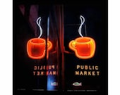 Seattle Neon Sign ,Pike Place Market,Double Espresso, Coffee at the Market, Post Alley, UNMATTED 8x8 fine art print