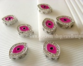 Bracelet connector Evil eye beads -- 5pcs Silver  tone with Rhinestone Connector(pendant) in Pink (18x14x5)