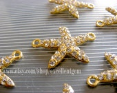 Starfish-5pcs Gold tone with clear Crystal Rhinestone bracelet Connector,Pendant-25mm