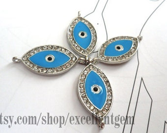 Clearance-50% off -10pcs Silver tone with rhinestone brass Evil eye in blue color 2 hold Bacelate Connector,Pendant