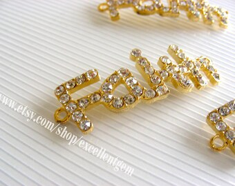 Bracelet connector - 5pcs side way Gold plated with clear rhinestone word connector