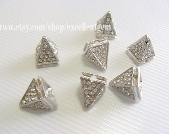 Punk style -10pcs Silver tone with Rhinestone Connector beads in Pyramid shape 12mm (2)