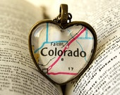 Map Jewelry, Jewelry, Necklace, Colorado Map Jewelry, Colorado Heart Necklace, Vintage Map, 1971 Colorado Map