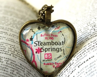 Map Jewelry , Map Necklace , Steamboat Springs Colorado , Colorado Necklace , Map Pendant I Love Steamboat Colorado ,  Colorado Vacation