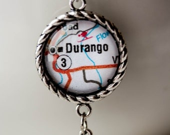 Map Jewelry , Colorado Necklace , Durango Colorado Map Pendant, USA Cycling Pro Challenge , Mesa Verde , Fort Lewis College , Four Corners