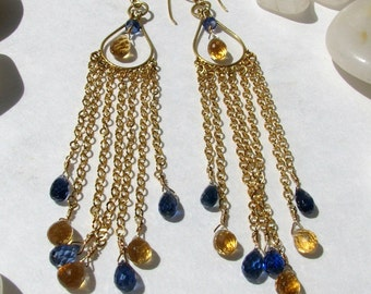 Kyanite, Golden Citrine, and Gold Long Chandelier Earrings -- Free US Shipping